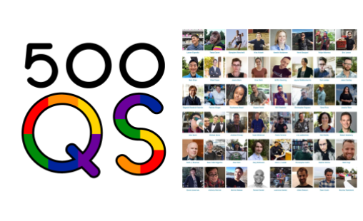 Logo for 500 Queer Scientists organization along with photos from scientist featured on the site